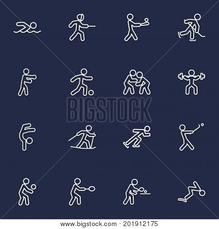 Collection Of Gymnastic, Batting, Swordplay And Other Elements.  Set Of 16 Fitness Outline Icons Set.