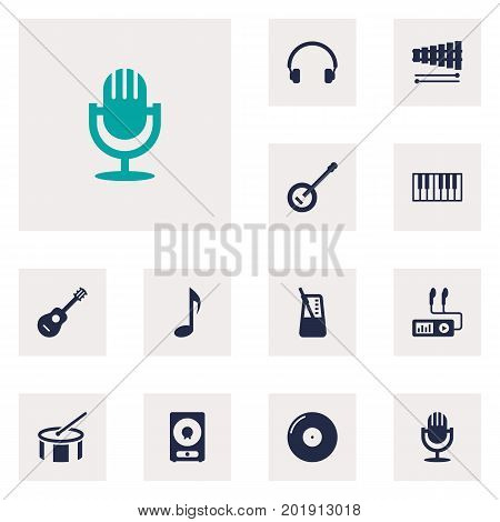 Collection Of Amplifier, Tambourine, Percussion And Other Elements.  Set Of 12 Song Icons Set.