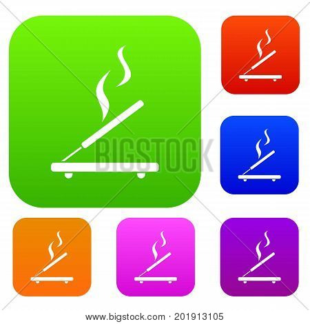 Incense sticks set icon in different colors isolated vector illustration. Premium collection