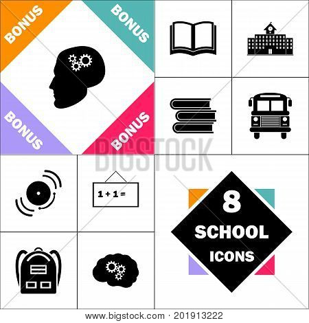 Head gears Icon and Set Perfect Back to School pictogram. Contains such Icons as Schoolbook, School  Building, School Bus, Textbooks, Bell, Blackboard, Student Backpack, Brain Learn