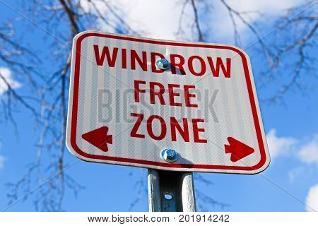 Windrow Free Zone Sign In The City