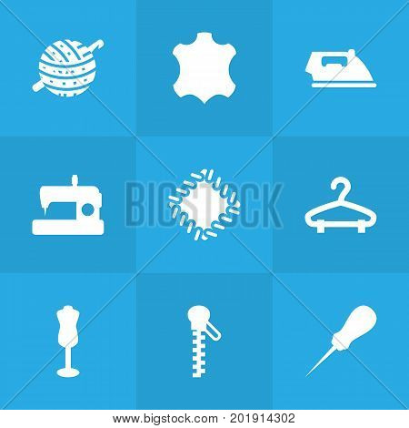 Collection Of Bodkin, Flat airon, Fastener And Other Elements.  Set Of 9 Stitch Icons Set.