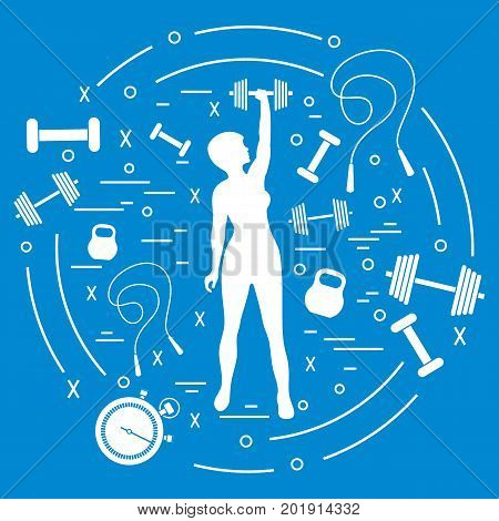 Cute Vector Illustration Of Fitness Athletic Woman Holds Kettlebell, Dumbbell, Stopwatch, Skipping R