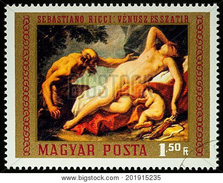 Moscow Russia - August 29 2017: A stamp printed in Hungary shows painting
