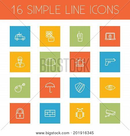Collection Of Firewall, Lock And Other Elements.  Set Of 16 Security Outline Icons Set.