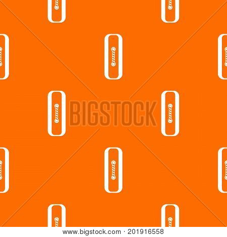 Sewn rectangular button pattern repeat seamless in orange color for any design. Vector geometric illustration