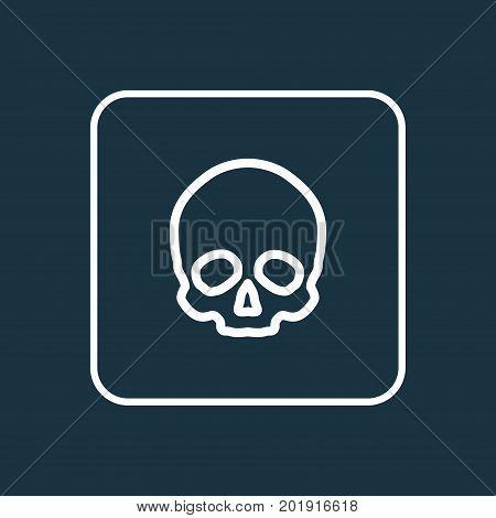 Premium Quality Isolated Cranium  Element In Trendy Style.  Skull Outline Symbol.