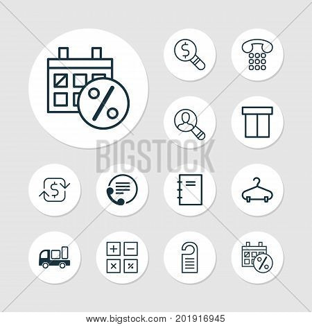Ecommerce Icons Set. Collection Of Delivery, Calculation Tool, Box And Other Elements