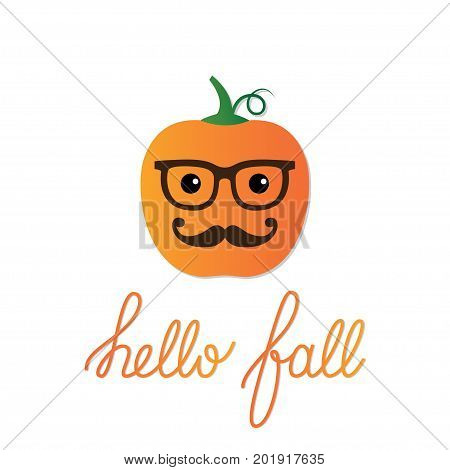 Card with a cartoon pumpkin and Hello Fall lettering