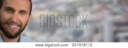 Digital composite of Portraiture of man with beard against blurry city