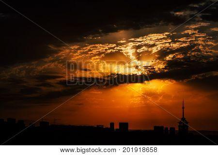 Storm sky. The sky is at sunset. Orange sky