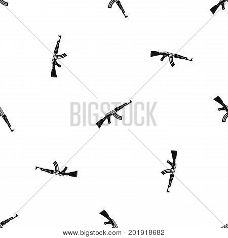 Submachine gun pattern repeat seamless in black color for any design. Vector geometric illustration