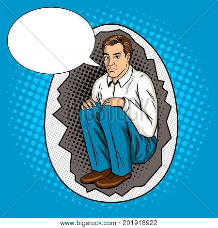 Man in egg shell metaphor pop art retro vector illustration. Comic book style imitation.