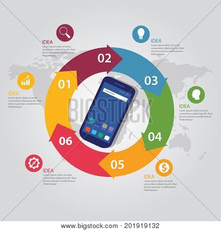 mobile smart-phone communication technology template info-graphic color bright circle arrow steps circular with map vector