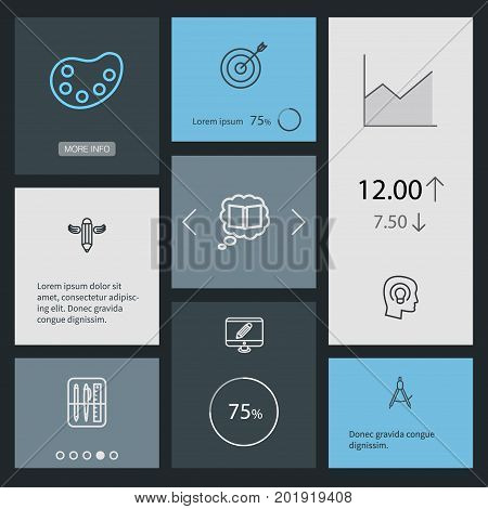 Collection Of Writing, Dividers, Target And Other Elements.  Set Of 8 Creative Outline Icons Set.