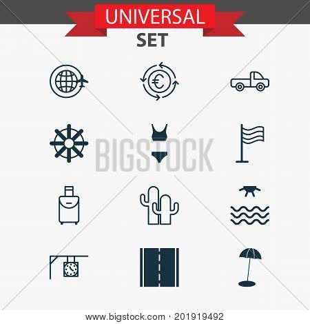 Tourism Icons Set. Collection Of Bathing Costume , World Travel, Trip Handbag Elements