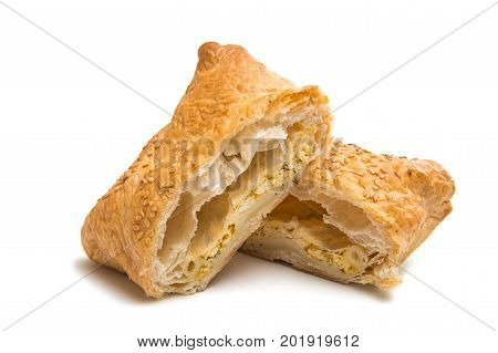 Puff pastry snack dessert isolate on white