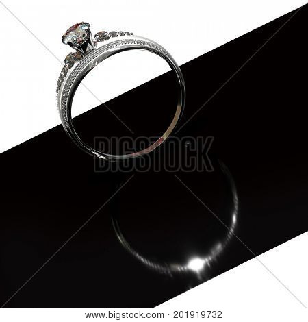 Silver band for engagement with diamond gem. Luxury jewellery bijouterie ring from white gold or platinum with gemstone. Graphic design black and white concept. 3D rendering on black background.