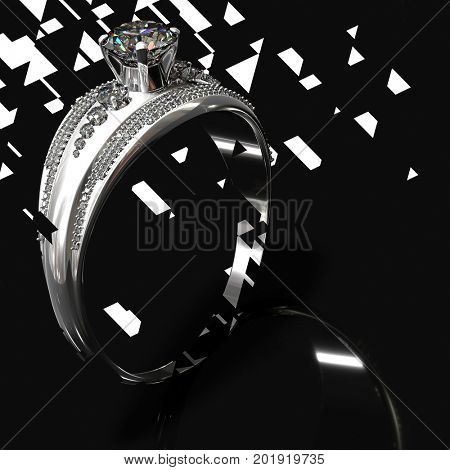 Silver band for engagement with diamond gem. Luxury jewellery bijouterie ring from white gold or platinum with gemstone. Graphic design of destroying concept. 3D rendering on black background.