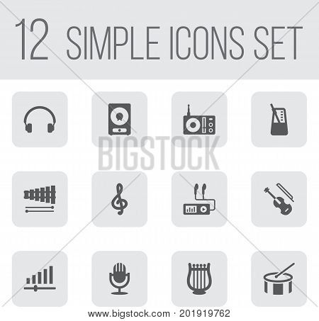 Collection Of Rhythm Motion, Knob, Amplifier And Other Elements.  Set Of 12 Song Icons Set.