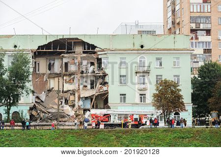 Orel Russia August 29 2017: Collapse of old apartment house. Wall collapse in old inhabited block of flats and EMERCOM at work panorama