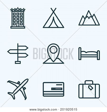 Journey Outline Icons Set. Collection Of Credit, Canopy, Hill And Other Elements