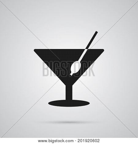 Vector Martini Element In Trendy Style.  Isolated Cocktail Icon Symbol On Clean Background.