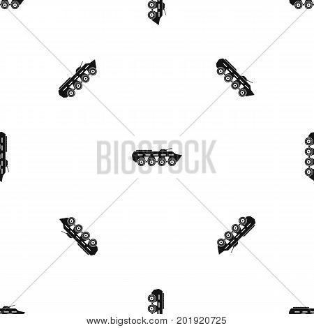 Army battle tank pattern repeat seamless in black color for any design. Vector geometric illustration