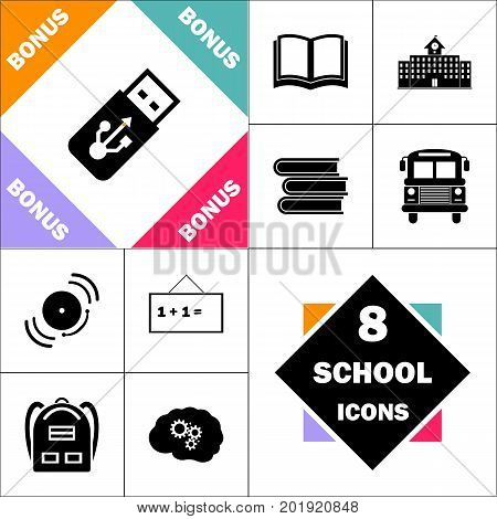 USB flash drive Icon and Set Perfect Back to School pictogram. Contains such Icons as Schoolbook, School  Building, School Bus, Textbooks, Bell, Blackboard, Student Backpack, Brain Learn