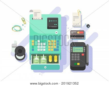 Cash machine with money and terminal for cards. Credit card and cash, payment and transaction in shop. Vector illustration