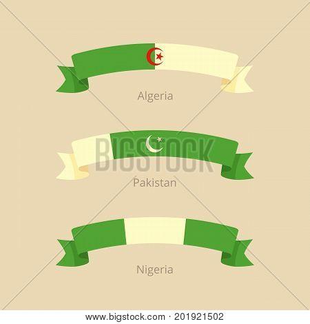 Ribbon With Flag Of Algeria, Pakistan And Nigeria.