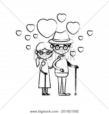 blurred silhouette of caricature full body elderly couple embraced with floating hearts grandfather with hat in walking stick and grandmother with side ponytail hair and glasses vector illustration