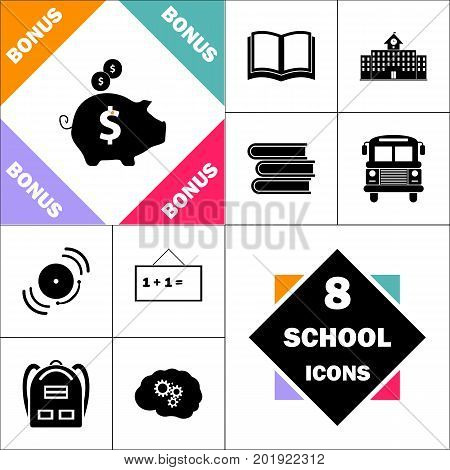 Piggy bank Icon and Set Perfect Back to School pictogram. Contains such Icons as Schoolbook, School  Building, School Bus, Textbooks, Bell, Blackboard, Student Backpack, Brain Learn