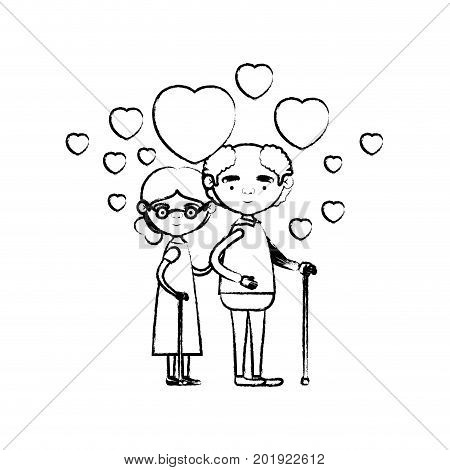 blurred silhouette of caricature full body elderly couple embraced with floating hearts grandfather in walking stick and grandmother with collected hair and glasses vector illustration