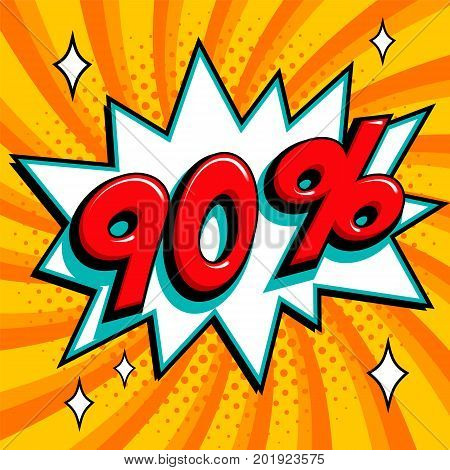 Orange sale web banner. Pop art comic sale discount promotion banner. Big sale background. Sale 90 off on a Comics pop-art style bang shape on orange twisted background. Seasonal discounts, Black Friday, the interest rate, etc. Vector illustration