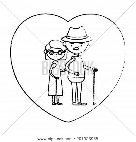blurred silhouette of heart shape greeting card with caricature full body elderly couple embraced grandfather with hat and moustache in walking stick and grandmother with short hair vector illustration