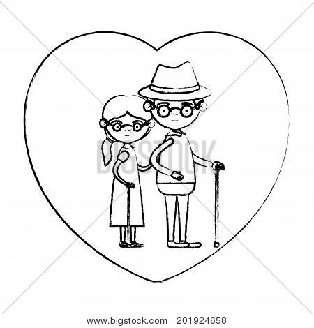 blurred silhouette of heart shape greeting card with caricature full body elderly couple embraced grandfather with hat and moustache in walking stick and grandmother with collected hair vector illustration