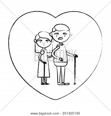 blurred silhouette of heart shape greeting card with caricature full body elderly couple embraced grandfather with moustache in walking stick and grandmother with straight hair vector illustration