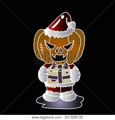 Vector image of Haunted pumpkin in Santa Cross dress with gift box with black background. Halloween concept.