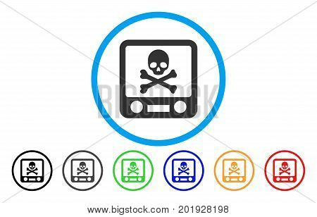 Xray Screening vector rounded icon. Image style is a flat gray icon symbol inside a blue circle. Bonus color versions are grey, black, blue, green, red, orange.