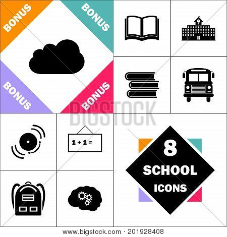 Cloud Icon and Set Perfect Back to School pictogram. Contains such Icons as Schoolbook, School  Building, School Bus, Textbooks, Bell, Blackboard, Student Backpack, Brain Learn