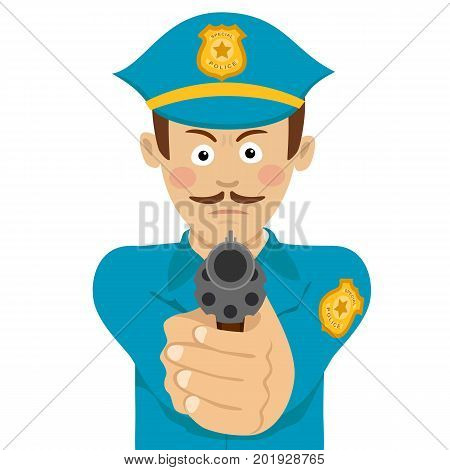 Cute policeman with mustache holding a gun in one hand aiming at you on white