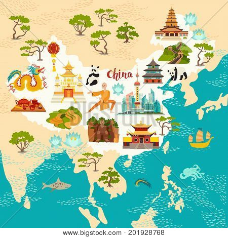 China abstract map hand drawn vector illustration. Travel illustration of China with landmarks icons temple dragon Shaolin monk lanterns pandas and rice fields
