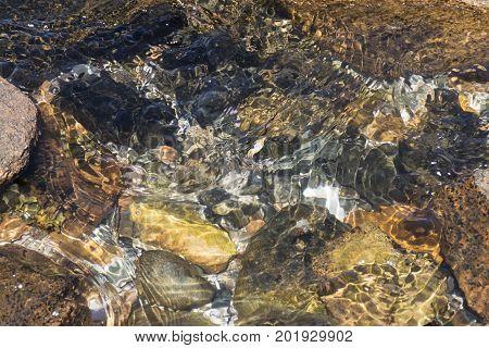 Choppy Cascading Water Over Rocks