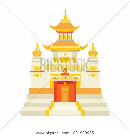 Shaolin temple vector icon. China oriental house in cartoon style white and gold/yellow color. Chinese temple Isolated on white background. Pagoda temple
