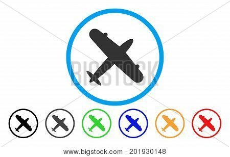 Aeroplane vector rounded icon. Image style is a flat gray icon symbol inside a blue circle. Bonus color versions are grey, black, blue, green, red, orange.