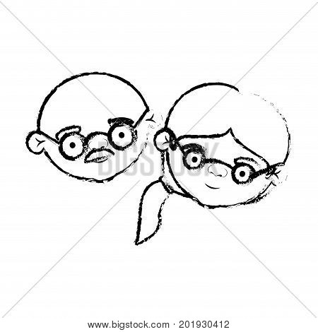 blurred silhouette of face of elderly couple bald grandfather with moustache and grandmother with glasses and side ponytail hairstyle vector illustration