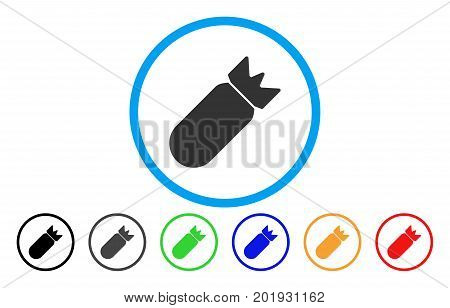 Aviation Bomb vector rounded icon. Image style is a flat gray icon symbol inside a blue circle. Bonus color variants are gray, black, blue, green, red, orange.