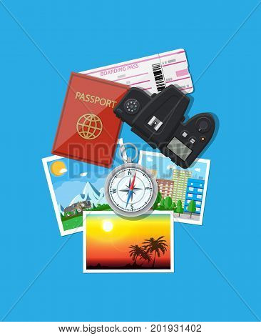 Travel concept. Photo camera and photos, compass, passport and boarding pass. Planning trip. Vector illustration in flat style