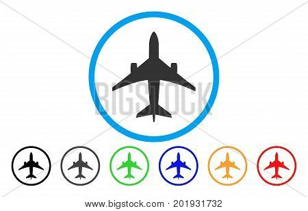 Jet Plane vector rounded icon. Image style is a flat gray icon symbol inside a blue circle. Bonus color versions are gray, black, blue, green, red, orange.